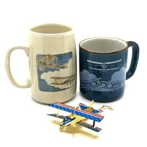 Biplane Mugs and Ornament Aviation Pilot Blue